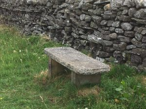 Stone bench located at the highpoint of The Wardway